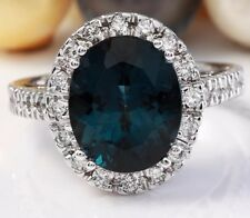 6.40 Carat Natural London Blue Topaz and Diamonds 14K White Gold Ring
