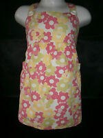 Girls white pink and green flower pattern summer sun dress age 3 - 4 years
