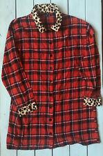 Boohoo Red Tartan Check Contrast Leopard Print Trim Boyfriend Shirt 18 - B67
