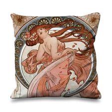 Alphonse Mucha Dance Faux Silk 45cm x 45cm Sofa Cushion - Art Nouveau