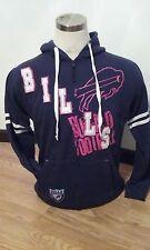 Buffalo Bills Navy Hooded Sweatshirt Embroidered Logo Large L Retro NWT NFL