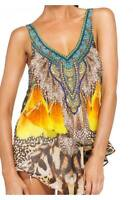 CAMILLA FRANKS SILK CRYSTALS XANADU V NECK DOUBLE LAYER TANK KAFTAN TOP