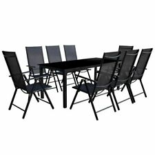 vidaXL Outdoor Dining Set 9 Piece Aluminium Black Garden Table Folding Chairs
