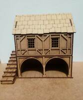 Christmas Village or 28mm War-game Tudor Style large Barn 2mm MDF Laser Cut Kit