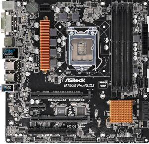 ASRock B150M Pro4S/D3 Desktop System Board Intel 6/7 Gen i7/i5/i3 DDR3 DVI HDMI