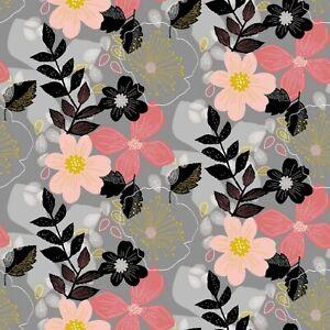 Soft Sweat, Verhees Textiles, warme Rückseite, GOTS, Floral, Grau, 150cm