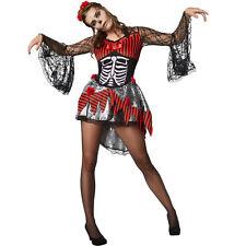 Kostüm Damen Skelett Fasnacht Karneval Halloween Kleid Zauberin Hexe Zombie sexy