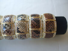 Snakeskin Print Elasticated Bangle Crystal Stones Edging, Beige New