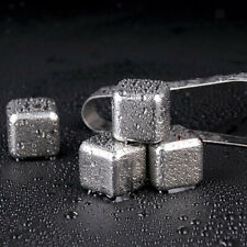 8pcs Stainless Steel Reusable Ice Cubes Beer Whiskey Metal Stones Balls Tong