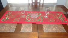 New handmade red & green quilted Christmas table runner featuring green trees