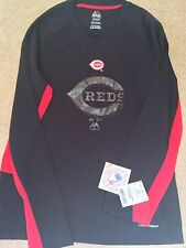 NWT Cincinnati Reds Youth CoolBASE long sleeve shirt black and red Large