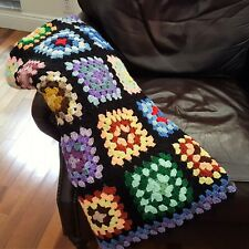 Granny Square Afghan Handmade Crochet Acrylic Washable Throw Blanket Cabin