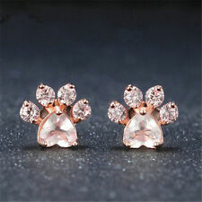Cute Crystal Dog Paw Footprint Pink Rose Quartz Rose Gold Stud Earrings Jewelry