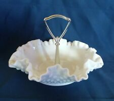 """Fenton Ruffled Hobnail White Milk Glass Candy Dish With Handle 7.75"""" Wide"""