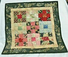 """Home Made Patchwork Quilt Wall Hanging in Pinks and Black 19"""" X 19"""""""