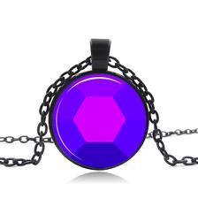 Amethyst Steven Universe Black Glass Cabochon Necklace chain Pendant Wholesale