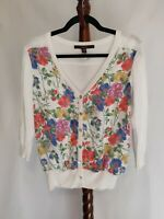 Fever women's size S sweater top multicolor floral 3/4 sleeve button up v-neck