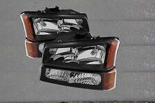03-06 Chevy Silverado Truck 1500 HD2500 3500 Headlights +Turn Signal Black Amber
