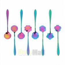 8x Stainless Steel Tableware Creative Flower Coffee Sugar Spoon Ice Cream Spoons