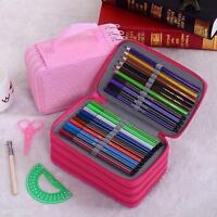 Travel 72Slots Hard Shell Pen Pencil Case Makeup Cosmetic Storage Bag Handbag