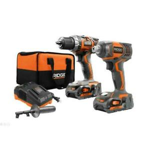 RIDGID R96021 18V Drill & Impact Driver Combo with 2 Batteries ,Charger & Handle