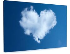 STUNNING BLUE SKY LOVE HEART CLOUDS CANVAS PICTURE PRINT CHUNKY FRAME #3759
