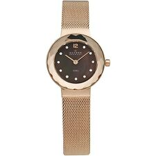 Skagen Women's 456SRR1 Leonora Brown Mother-of-Pearl Dial Rose Gold-Tone Watch