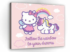 Bild, Wandbild  , ins Kinderzimmer, Hello Kitty, Regenbogen, Einhorn   3FX650O1