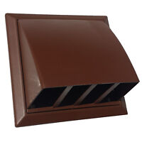 """100mm 4"""" Brown Cowl with non return flap for tumble dryer / extractor fan etc"""