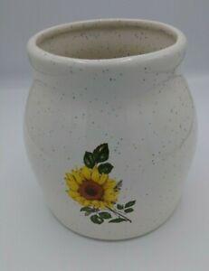 Ceramic Vase Crock White with Sunflower No Markings