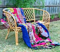 Vintage Design Cotton Velvet Kantha Quilt Doona Cover Set QUEEN KING Super KING