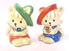 VINTAGE KITTENS CATS WITH HATS SALT & PEPPER SHAKERS JAPAN sombrero Cork