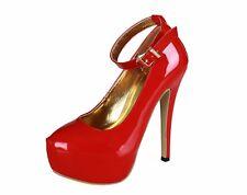 Platform Red Pumps Mens Crossdresser Heels Ankle Strap Drag Queen Large Shoes