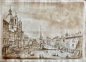 Italian School Master Drawing View Of Piazza Navona Rome - Brown Ink - Original