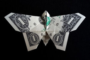 Origami Dollar BUTTERFLY 3D Home Wedding Wall Decor Gift Money Real 1 Bill Paper