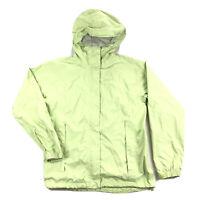 LL Bean Womens Small Lime Green Shell Rain Windbreaker Hooded Jacket Full Zip