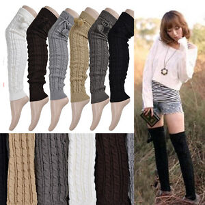 THE BEST Leg Warmers Women Knit Thick Long Over Knee High Hosiery Socks、 GD FyLD