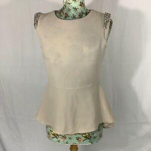 New Look Women's Tunic T Shirt size 10 / S Beige Shoulder Detail