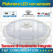 PLAFONIERA LED CON SENSORE DI MOVIMENTO VTAC LED 12W LUCE FREDDA 6000°K
