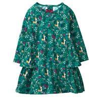 NWT Gymboree Mulberry & Pine Baby Girls Green Fawn Deer Long Sleeve Ruffle Dress