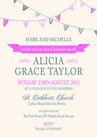 PERSONALISED CHRISTENING PARTY INVITES Bunting Pink Invitations Pack of 10