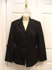 NWT BLACK  FULLY LINED  LINEN BLEND FITTED jacket size 8