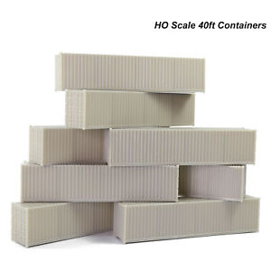 9pcs HO Scale 40ft 1:87 Shipping Container Blank Uncolored Cargo Box