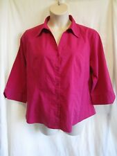 KATIES, Deep Pink Stretch Blouse, Trim, Collar, Buttons, 3/4 Sl, Sz 20, Exc Cond