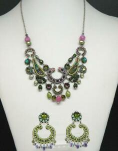 Signed AYALA BAR Silver Tone Glass Beaded Dangle Necklace & Earrings Suite
