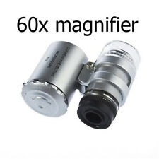 NEW Mini 60x Handheld Microscope Loupe Jeweler Magnifier With LED Light Glass *