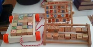 3 Vintage WOODEN BLOCKS LEARNING TOYS~ABC's, Numbers, Pictures~Playskool, Abacus