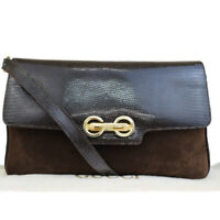 Auth GUCCI 2Way Clutch Shoulder Bag  Lizard Suede Leather Brown Italy 36ER958