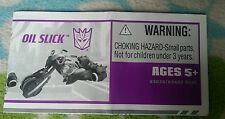 Transformers ANIMATED OIL SLICK INSTRUCTION BOOKLET