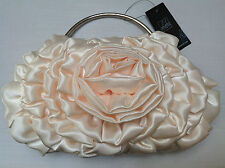 LEKO LONDON IVORY SATEEN ROSE EVENING  BAG PURSE   BNWT